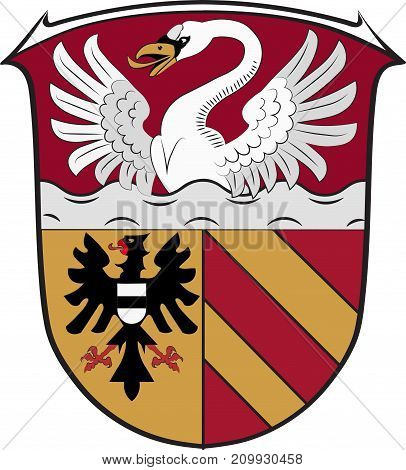Coat of arms of Main-Kinzig is a district in the east of Hesse Germany. Vector illustration
