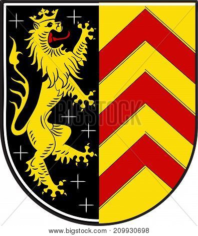 Coat of arms of Hanau is a town in the Main-Kinzig-Kreis in Hesse Germany. Vector illustration