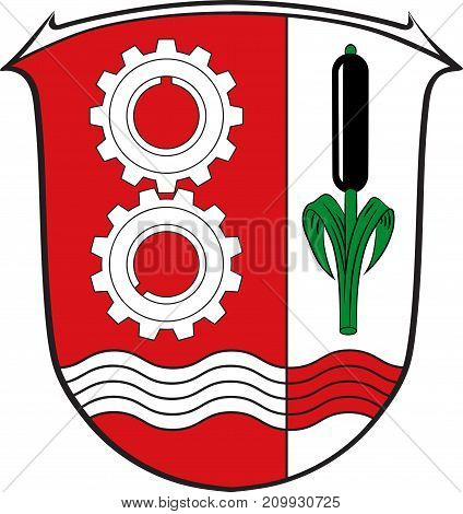 Coat of arms of Maintal is the second largest town of the Main-Kinzig district in Hesse Germany. Vector illustration