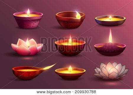 Diwali celebration set with decorative colourful images of burning candles with different pattern and shape vector illustration