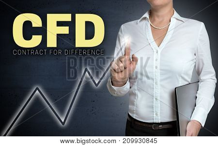 CFD touchscreen shown by businesswoman picture background