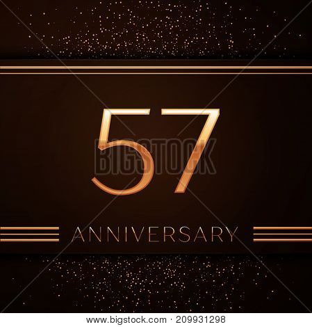 Realistic Fifty seven Years Anniversary Celebration Logotype. Golden numbers and golden confetti on brown background. Colorful Vector template elements for your birthday party