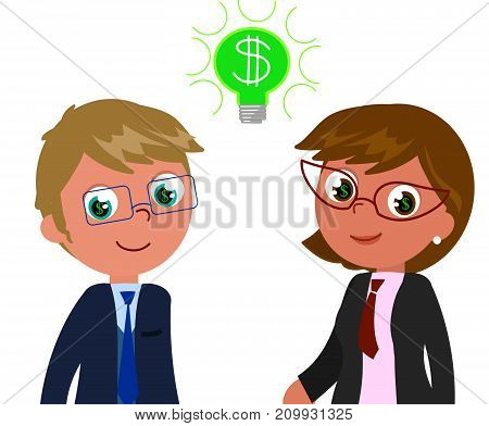 Successful business people with dollar in eyes, vector illustration