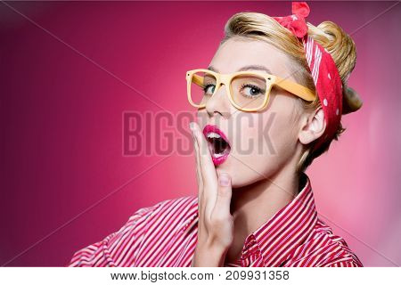 Young woman blonde glasses young adult background view