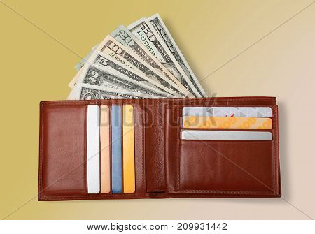 Money cards wallet table color objects background