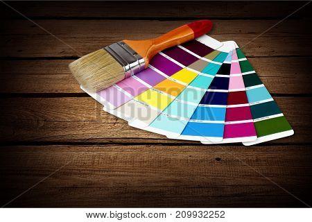 Color brush palette descriptive background colorful design
