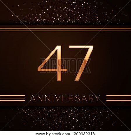 Realistic Forty seven Years Anniversary Celebration Logotype. Golden numbers and golden confetti on brown background. Colorful Vector template elements for your birthday party