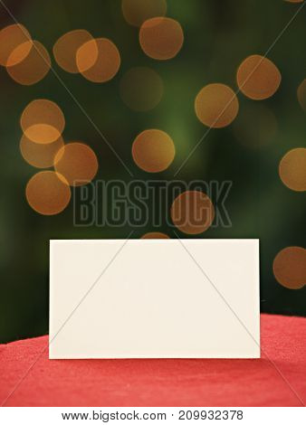 a blank white card at Christmas placard.