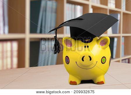 Hat bank graduation pig piggy money isolated