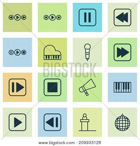Multimedia Icons Set. Collection Of Audio Buttons, Song UI, Following Music And Other Elements