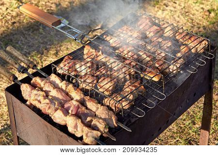 Pork in the marinade on metal skewers with onion and spices cooked for frying on coals outdoors