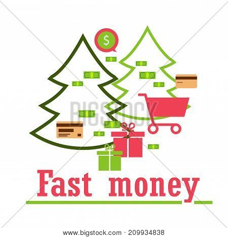 concept: quick money for shopping gifts send pay delivery. Modern technologies.