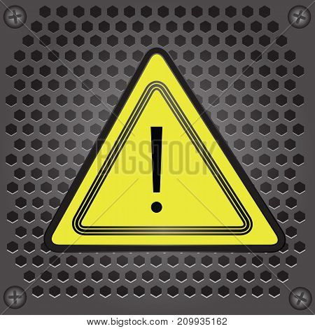colorful illustration with yellow sign warning on grey perforated background