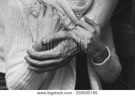 her husband gently hugs her girlfriend tenderly poster
