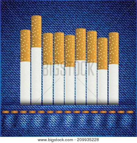 colorful illustration with cigarettes on blue jeans background