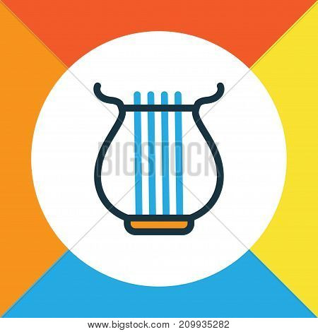 Premium Quality Isolated Harp  Element In Trendy Style.  Strings Colorful Outline Symbol.