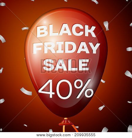 Realistic Shiny Red Balloon with text Black Friday Sale Forty percent for discount over red background. Black Friday balloon concept for your business template. Vector illustration