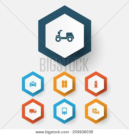 Transport Icons Set. Collection Of Cab, Skooter, Way And Other Elements