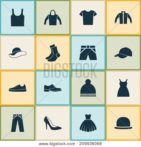 Clothes Icons Set. Collection Of Half-Hose, Dress, Elegance And Other Elements