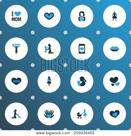 Mothers Day Colorful Icon Design Concept. Set Of 16 Such Elements As Perambulator, Relations, Hands