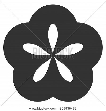 Flower vector icon. Style is flat graphic grey symbol.