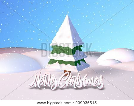 Christmas card with calligraphic greetings lettering in the snowy field