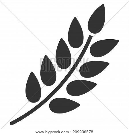 Leaf Branch vector pictograph. Style is flat graphic grey symbol.