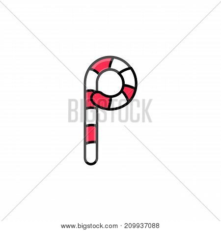 red and white stripe candy cane letter P