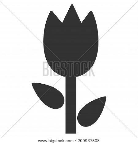 Tulip vector icon. Style is flat graphic grey symbol.
