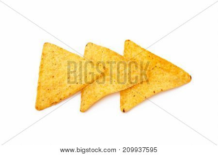 Corn chips,triangle, nachos isolated on white background