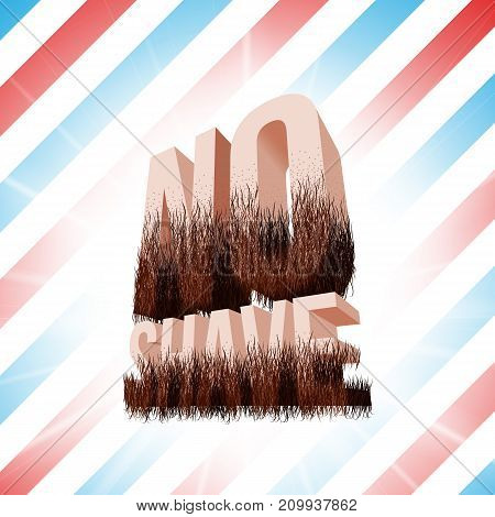 No Shave November lettering with beard symbol and barbershop background