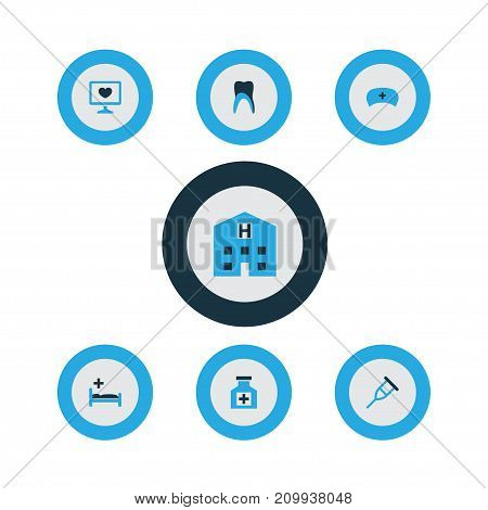 Drug Colorful Icons Set. Collection Of Bed, Tooth, Remedy And Other Elements