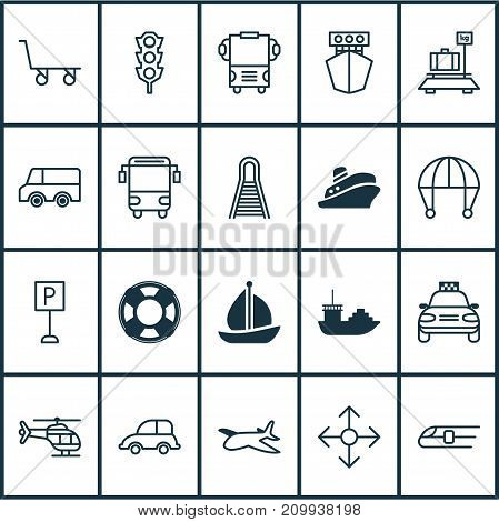 Transportation Icons Set. Collection Of Lifebuoy, Transport, Skydive And Other Elements