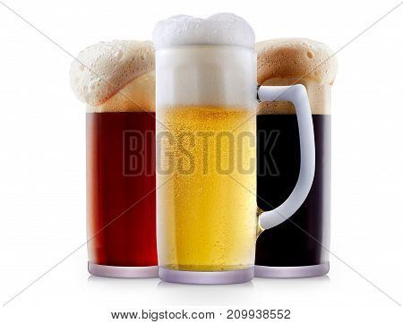 Mug collection of frosty dark red and light beer with foam isolated on a white background