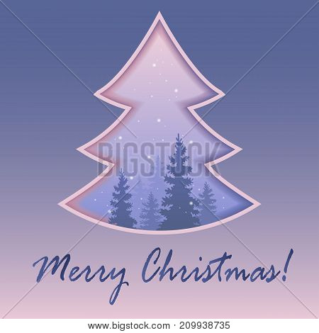 Christmas tree . Mysterious snow-covered forest. The charm of the winter nature. Vector. Eps 10. Festive background.
