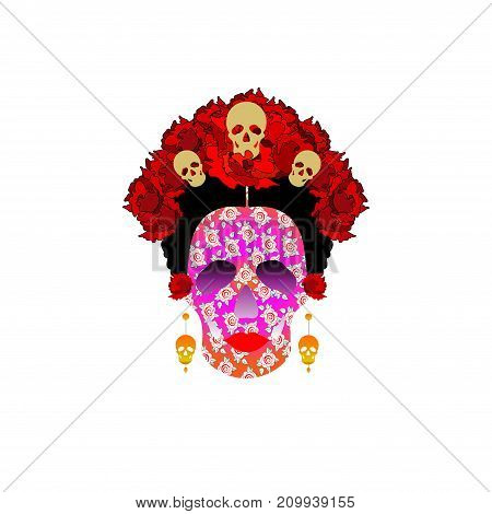 day of the dead, portrait of Mexican Catrina with skulls and red flowers , inspiration Santa Muerte in Mexico and la Calavera , vector illustration isolated