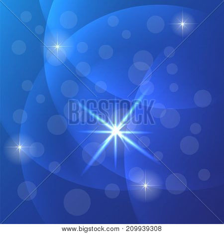 Abstract Blurred Blue Sky Background. Starry Night Pattern