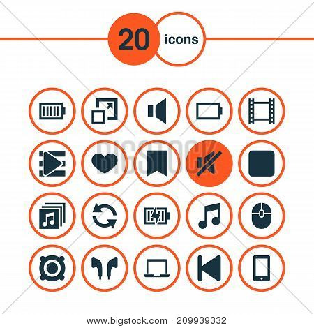 Multimedia Icons Set. Collection Of Film, Mute, Synchronize And Other Elements