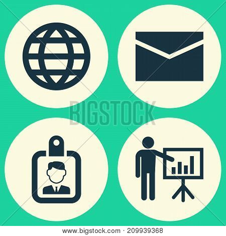 Business Icons Set. Collection Of Envelope, Earth, Id Badge And Other Elements
