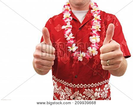 a man wearing a hawaiian shirt giving thumbs up.