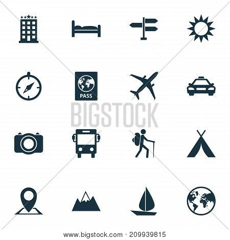 Journey Icons Set. Collection Of Sunny, Transport, Certificate And Other Elements