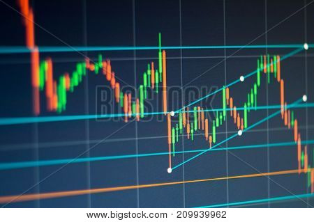 market trade background graph with red and green candles start growing