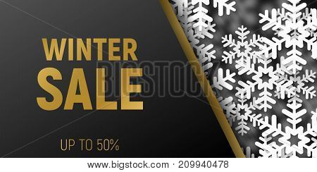 Winter web horizontal sale banner template in trendy fashion style. Black banner with white snowflakes design. Eps10.