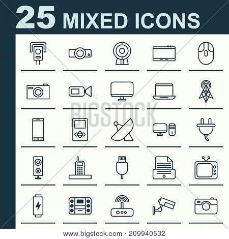 Gadget Icons Set. Collection Of Television, Broadcast, Presentation And Other Elements