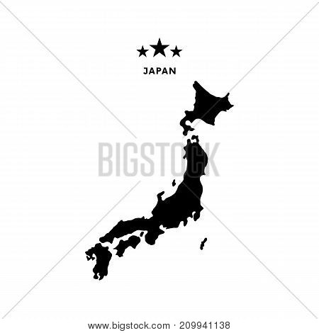 Japan map. Stars and text. Vector illustration.