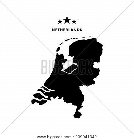 Netherlands map. Stars and text. Vector illustration.