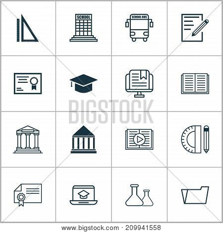 Education Icons Set. Collection Of Diploma, Education Tools, College And Other Elements