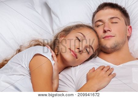 Young sleep couple white beautiful person human