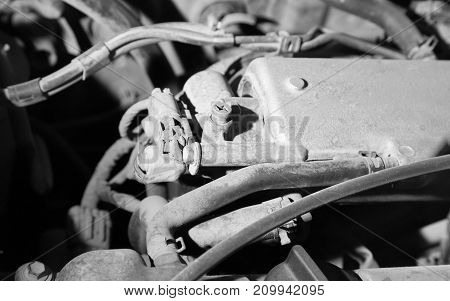 old parts under the hood of a car