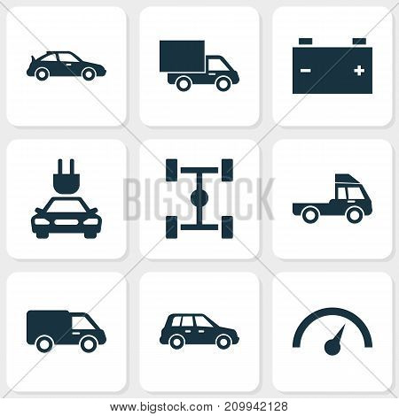 Automobile Icons Set. Collection Of Wheelbase, Crossover, Plug And Other Elements